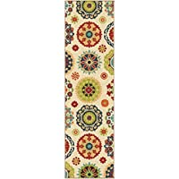 D&H 1 Piece 2'3 x 8'ft Indoor Outdoor Beige Red Blue Ivory Floral Runner Rug, Long Jeweled Hallway Rug Bohemian Pattern Flower Designs Orange Yellow Green, Multi Colored Narrow Carpet, Polypropylene