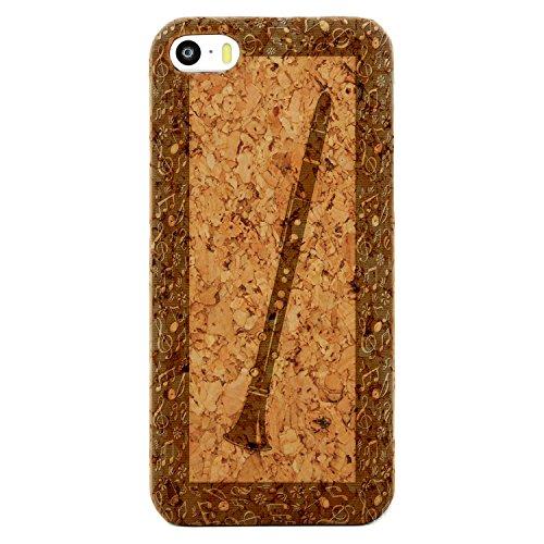 Laser Engraved Wood Case iPhone SE – Carinet Oboe Classical Music (Cork Case)