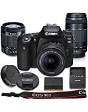 Canon EOS 90D DSLR Camera with 18-55mm is STM Lens Bundle + Canon EF 75-300mm f/4-5.6 III Lens & Accessory Kit