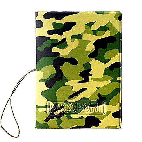 Price comparison product image WODEJIAYUAN Camouflage Pattern PU Leather Passport Cover Holder Pockets ID Bag Cards Folder