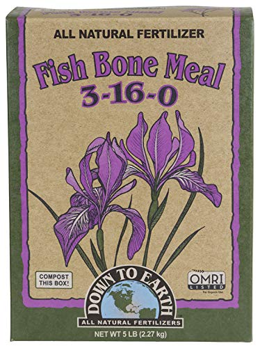 Organic Bone Meal - Down To Earth All Natural Fertilizers 07826 Down to Earth Fish Bone Meal-5 lb Fertilizer, Brown
