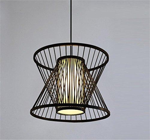 lámpara de araña Rattan colgante linterna de bambú luz China pastoral creativo restaurante salón de té corredor pasillo luz de bambú No contiene fuente de luz , 2