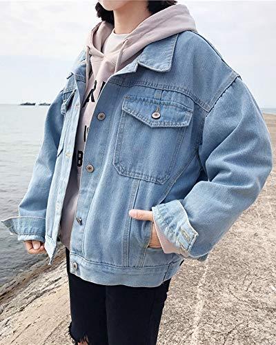 Giacca Capispalla Cihui Single Jacket Donna Breasted Manica Denim Lunga Chiaro Azzurro qOOXBwx