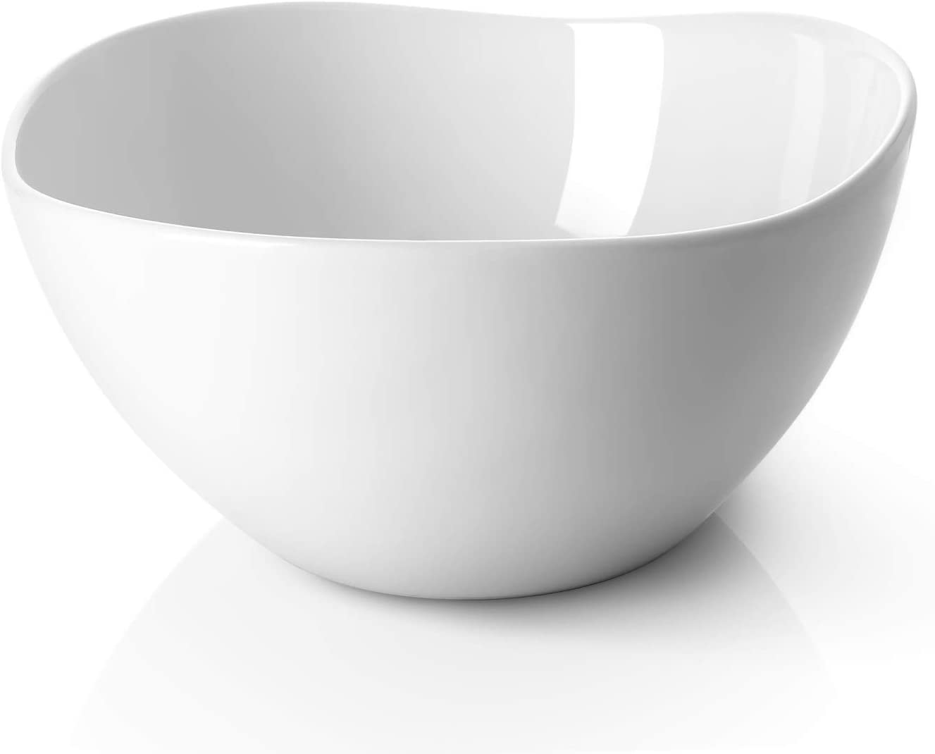 DOWAN Large Serving and Mixing Bowls, 3 Quarts Porcelain Bowl for Salad, Pasta, Fruit, Set of 2, White