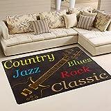 WOZO Electric Guitar Jazz Rock Classic Area Rug Rugs Non-Slip Floor Mat Doormats Living Room Bedroom 60 x 39 inches