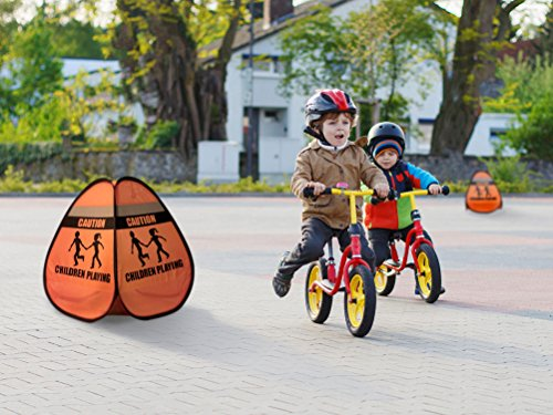 Novus Children at Play Weighted Pop Up Orange Safety Cone Sign With Reflective Tape (1 Pack)