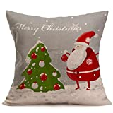 "Clearance!Christmas Pillow Cases,ZYooh Linen Throw Pillow Cases Sofa Cushion Cover Home Party Decoration 18"" (G)"
