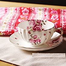 MH-RITA Retro Rose Rose Floral Cute British Coffee Cup And Saucer Set British Black Tea Cup