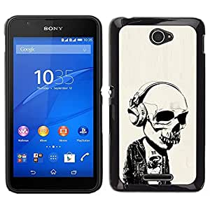 All Phone Most Case / Oferta Especial Duro Teléfono Inteligente PC Cáscara Funda Cubierta de proteccion Caso / Hard Case Sony Xperia E4 // Headphones Street Style Skull Skeleton