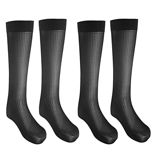 iEFiEL 2 Pairs Mens Striped Thin Breathable Over-the-Calf Crew Business Silk Socks Black One ()