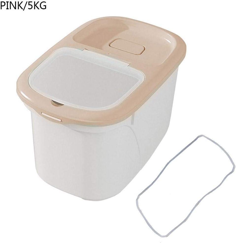 AEROBATICS Caja de arroz, Comida para Perros, Comida para Gatos, contenedor de pienso, Recipiente para Comida Seca, Caja de Almacenamiento con Tapa para arroz, Madres de Cereales, Granos, Pink / 5kg,: Amazon.es: