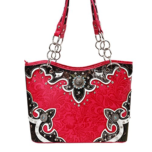 [Top Hot Pink Camouflage Camo Tooled Leather Concealed Carry Bling Designer Large Western Purse Handbag New Best Mother Day Nurse Graduation Gift Idea Her Women Mom Sister Grandmother Wife Summer] (Western Day Dress Up Ideas)