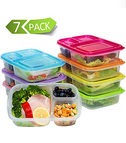Meal Prep Containers 3 Compartment,7 Pack Bento Lunch Box Po