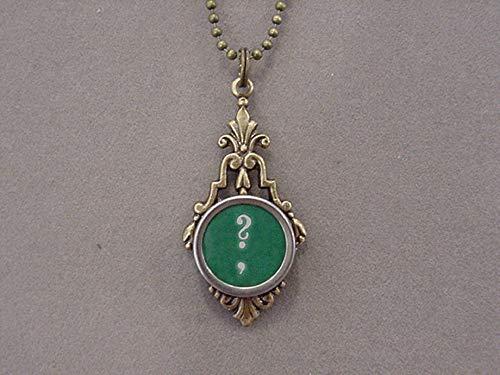 Typewriter Keys Recycled - Bronze Typewriter key Pendant Necklace Green Question Mark typewriter key jewelry recycled jewelry