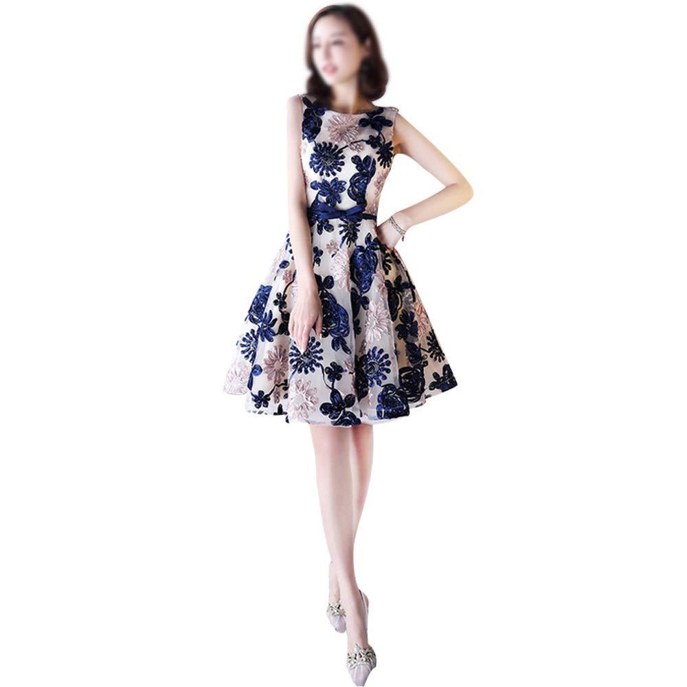 bluee Kirabon Women's Fashion Lace Embroidery Sleeveless Short Evening Dress (color   bluee, Size   XS)