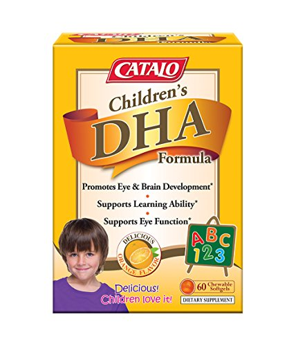 - CATALO - Children's DHA Formula, Brain Eye Development to Support Learning with 470mg of Omega 3 Fatty Acid, DHA, and EPA containing Fish Oil, 60 Orange Flavor Chewable Softgels