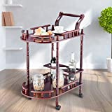 MD Group Kitchen Trolley Cart Serving Rolling Rack Wine Food Storage Wood 2-Tier Bar Hotel Carts