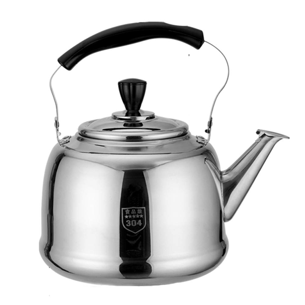 Stainless Steel Traditional Whistling Kettle, for Home Kitchen Restaurant Hotel Cafe Use, 5L,6L by HLLXX