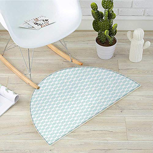 Pale Blue Semicircle Doormat Elliptical Shapes with Star Like Symbols Inside Wavy Bold Chain Pattern Halfmoon doormats H 31.5' xD 47.2' Pale Blue White