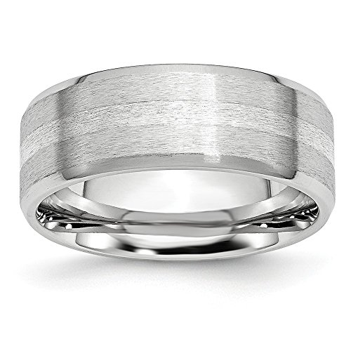 Cobalt Sterling Silver Inlay Satin/Polished Beveled Edge 8mm Band- Size 7.5 ()