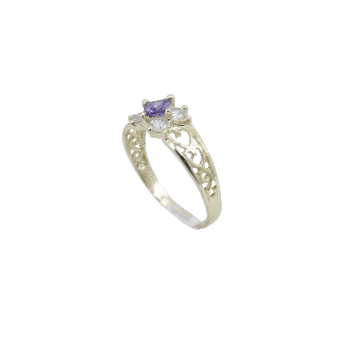 8 10k Yellow Gold Syntetic blue gemstone ring ajr65 Size