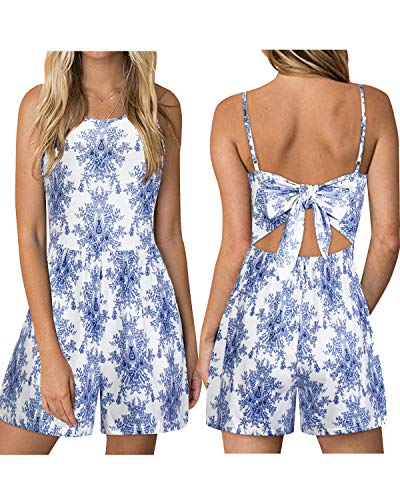 KILIG Women's Summer Floral Backless Spaghetti Strap Jumpsuits Tie Back Rompers (Floral-D, XL)