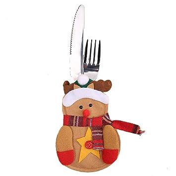 ZHRUI Tenedores y Cuchillos navideños Bolsillos para ...