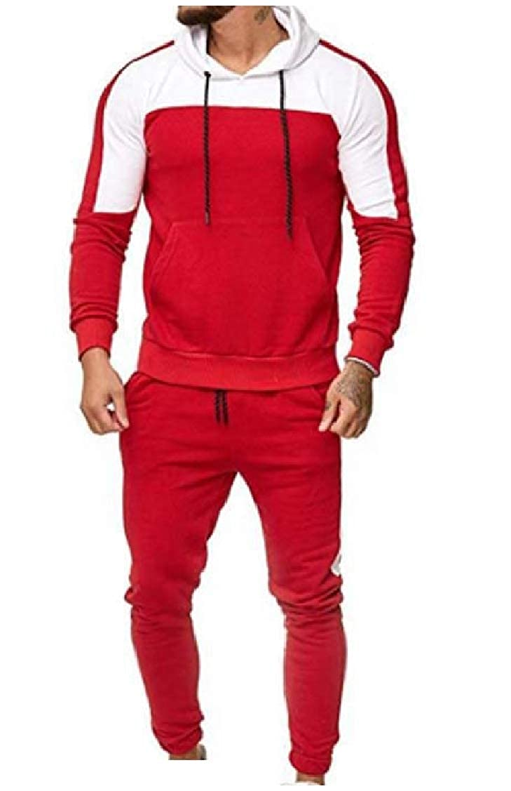Coolred-Men Color Stitch Pocket Casual Hooded Tops Outwear and Pants Sets
