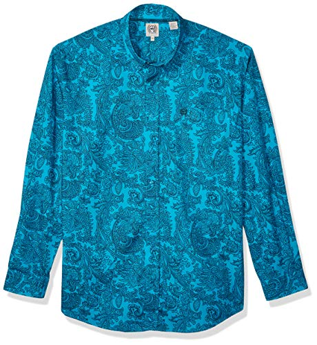 - Cinch Men's Classic Fit Long Sleeve Button One Open Pocket Shirt, Caneel Bay Paisley, L