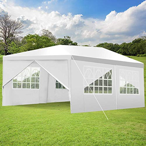 Tangkula Outdoor 10'x20' Canopy Tent Heavy Duty Wedding Party Tent with 4 Removable Enclosure Sidewalls & 2 Zippered Doorways Gazebo Storage Shelter Pavilion Canopy Carport White