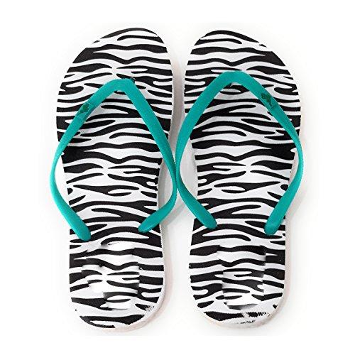 Chanclas de Mujer Piscina Playa Verano, Varios Modelos y Colores Suela Zebra Negro, Correa Turquesa
