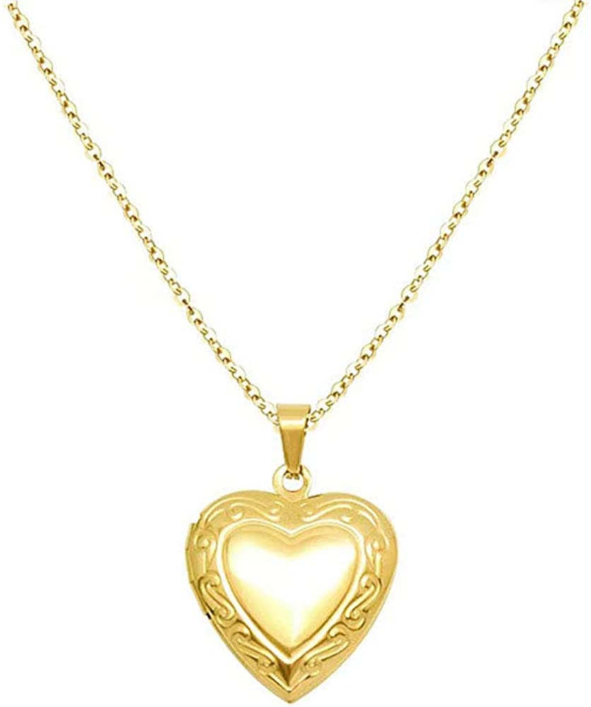 Women Girls Locket Necklace stainless steel 18K Gold Photo Lockets Statement Gift Heart Locket Necklace