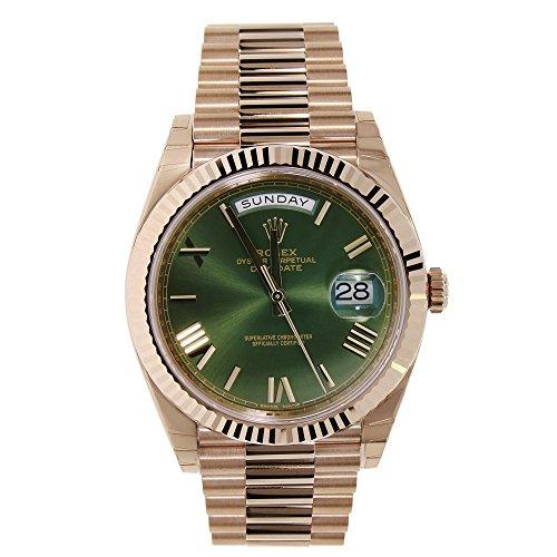 Rolex Day-Date 40mm 18K Rose Gold President Green Roman Dial Watch - Rolex Watches Rose Gold