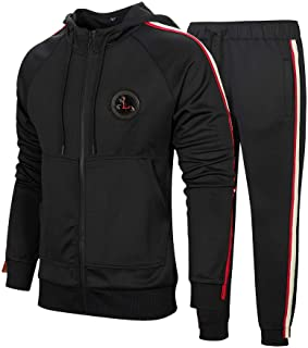 MANTORS Men's Hooded Athletic Tracksuit Full Zip Casual Jogging Gym Sweat Suits Black XL