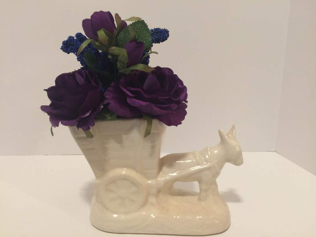 ANIMAL FUN - WHITE BURRO PULLING CART VASE - PURPLE ROSES & BLUE BERRIES - DONKEY - UNIQUE GIFT by Peters Partners Design