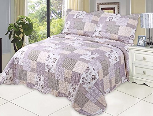Bouquet Quilt Set - Microfiber Quilt set,prewashed, preshrunk. Hypoallergenic, Print pattern Stitched with Threads, King bed-cover with 2shams , AS coverlet bedcover