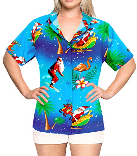 LA LEELA Christmas Santa Beach HD Tops Women's Shirt Blue 460|S - US ()