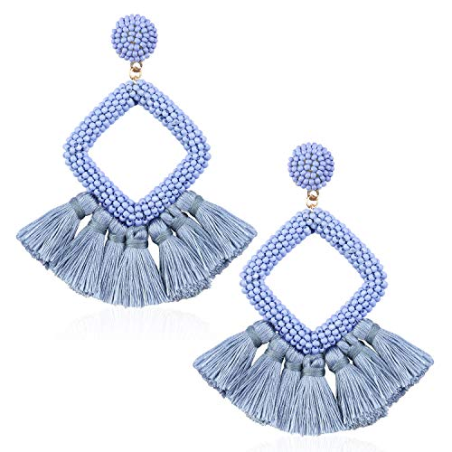 Tassel Bead Statement Earrings for Women Girls Handmade Bohemian Beaded Hoop square Thread Fringe Dangle Trendy Vacation Studs Ear Jewelry Accessory Present for Lover with Gushion Gift Box GUE137 Blue