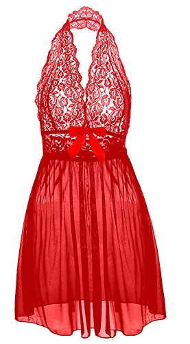 Coswe Moonight Plus Size Lace Top Babydoll Lingerie for Women (5XL, Red)