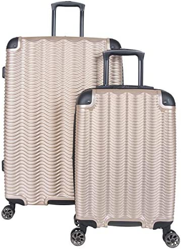 """Kenneth Cole Reaction Wave Rush' 2-Piece 20""""/28"""" Lightweight Hardside 8-Wheel Expandable Luggage Set, Champagne"""