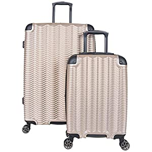 Kenneth Cole Reaction Wave Rush' 2-Piece 20″/28″ Lightweight Hardside 8-Wheel Expandable Luggage Set, Champagne