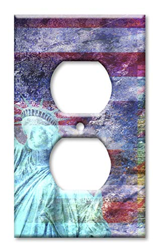 Of Liberty Faceplate Statue - Art Plates Brand Electrical Outlet Cover Wall/Switch Plate - Statue of Liberty with Flag Background