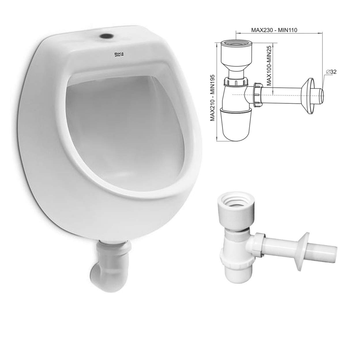 Urinal Inlet Top White Modern High Quality Ceramic Pissoir Pico Vertical Pissoir Flush Valve Urinal Flush Valve Hydro H VBChome Set