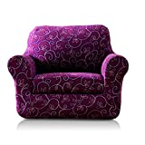TIKAMI 2-Piece Spandex Printed Fit Stretch Sofa Slipcovers (Chair, Purple Flower) For Sale