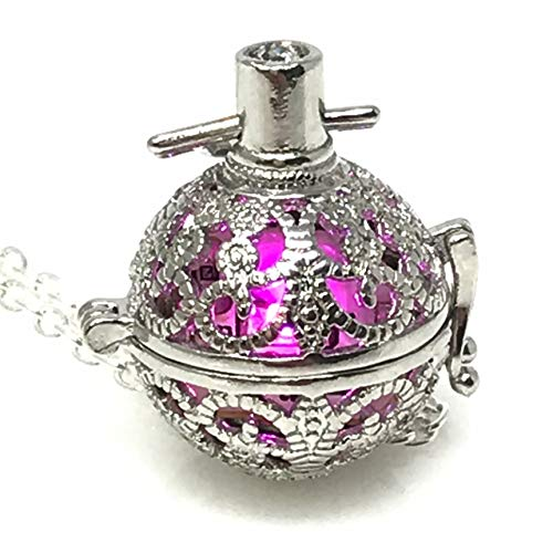 UMBRELLALABORATORY Steampunk FIRE Necklace - Pendant Glow Locket - Great Gifts for Teen Girls, Mother, Father, Little Girls Jewelry-Silver Pink -
