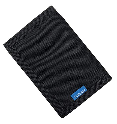JEMINAL New Mens Canvas Trifold Wallets for Boys Purse with id window (01 - Black + RFID Blocking (Upgrade (Best New Wallets)