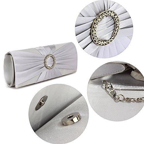 ANNA GRACE - Cartera de mano de Satén para mujer Design 1 - Silver