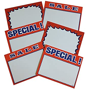 3 1//2 x 5 1//2 CardsSpecial Burst Red /& YellowSale Pack of 100 CYC206 Retail Price Signs