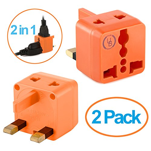 USA to UK Plug Adapter by Yubi Power 2 in 1 Universal Travel Adapter with 2 Universal Outlets - Orange 2 Pack - Type G for United Kingdom, England, Hong - Outlet Malaysia Store