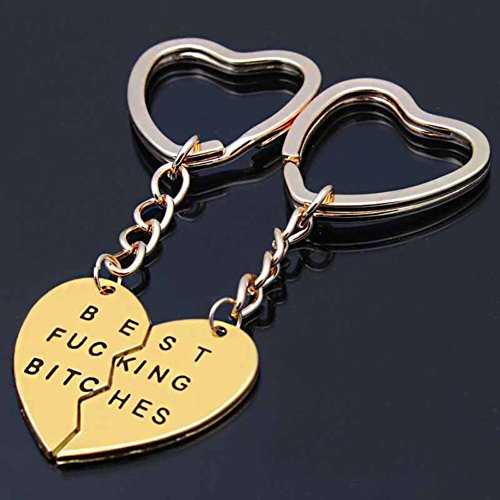 Bling Stars Best Bitches Keychain Best Friends BFF Lovers Engraved Heart Key Ring